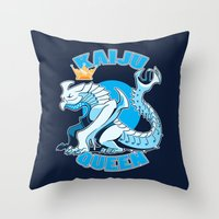 kaiju Throw Pillows featuring kaiju queen by Amanda Lien