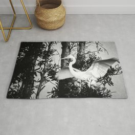 Great Egret In The Trees Rug