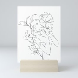 Minimal Line Art Woman with Peonies Mini Art Print