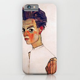 Egon Schiele - Self-Portrait with Striped Shirt 1910 iPhone Case