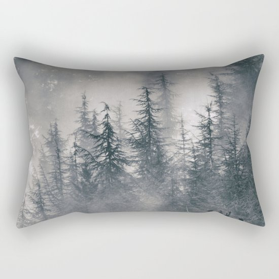 """Mountain light II"". Foggy forest. Rectangular Pillow"