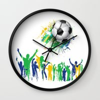world cup Wall Clocks featuring World Cup Fever by Robin Curtiss