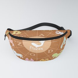 Pisces ,2, Zodiac, Astrology, Horoscope, Stars, Sun-and-moon. Birthday, Valentines-day, Holidays, Fanny Pack