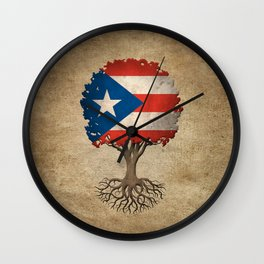 Vintage Tree of Life with Flag of Puerto Rico Wall Clock