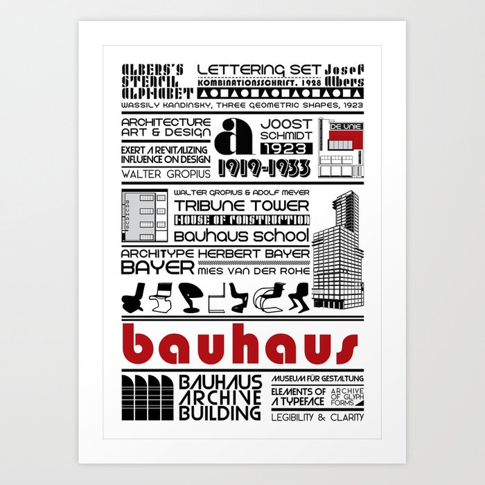 Bauhaus Type and Architecture Art Print by nourasaad