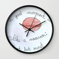 macaroon Wall Clocks featuring Sweet as a Macaroon  by Clawson Creatives