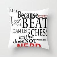 nerd Throw Pillows featuring Nerd by Jessica Jimerson