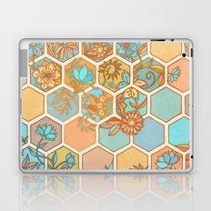 Golden Honeycomb Tangle - hexagon doodle in peach, blue, mint & cream Laptop & iPad Skin