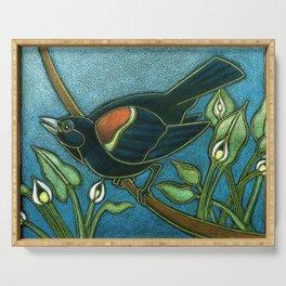 Redwing Blackbird with Water Arum Serving Tray
