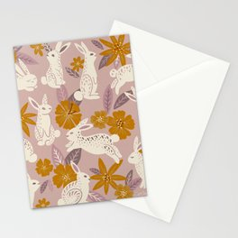 Bunnies & Blooms – Mauve & Ochre Palette Stationery Cards