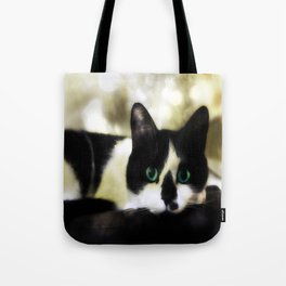 The Tuxedo with the Green Cat Eyes Tote Bag