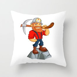 miner funny with pick.Prospector cartoon Throw Pillow