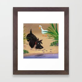 Scottie and the Duck Framed Art Print
