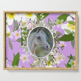 Spring Floral Horse Serving Tray