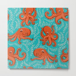 Fun orange octopus on turquoise background. Metal Print