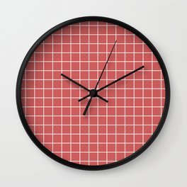 Indian red - pink color - White Lines Grid Pattern Wall Clock