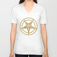 baphomet V-neck T-shirts featuring Courting Baphomet by Framed In Blood Art