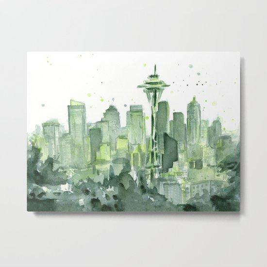 Seattle Watercolor Painting Metal Print