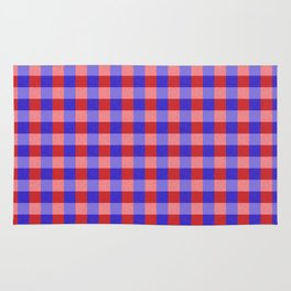 Red Blue and Pink Pretty Check Pattern Rug