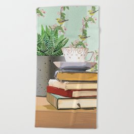 Tea and book love Beach Towel