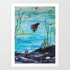 Under the Sea Mermaids Swim Art Print