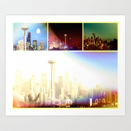Funky Seattle Space Needle Collage in prismatic Colors Art Print