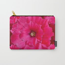 BLACK FUCHSIA-PINK  DOUBLE  HOLLYHOCK FLOWERS GARDEN Carry-All Pouch