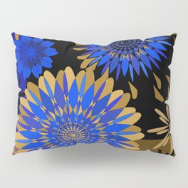 Cobalt and gold on black lacquer Pillow Sham