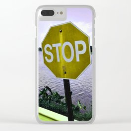 Iterations of a Stop Sign #3: Yellow Clear iPhone Case