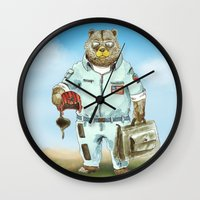 top gun Wall Clocks featuring Top Gun Bear by Mat Art