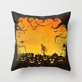 Halloween Pumpkin Faces Throw Pillow