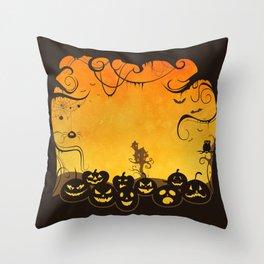 Halloween Pumpkin Faces Throw Pillow