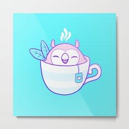 Owl Tea Metal Print