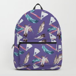 Watercolour Tribal Pattern with Feathers and Hatchets Backpack