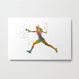 Tennis player in watercolor-woman Metal Print
