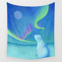 Jack the Polar Bear Watching the Northern Lights Wall Tapestry