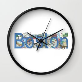 Boston - Cityscapes by Stephanie Hessler Wall Clock