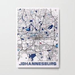 Johannesburg - South Africa MilkTea City Map Metal Print
