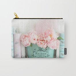 Paris Peonies Books Prints Aqua Pink Prints and Home Decor Carry-All Pouch