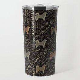 Alaskan Malamute dog Word Art Travel Mug