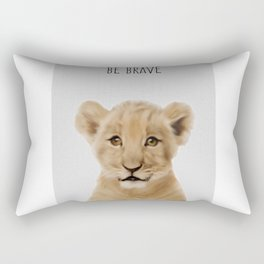 Lion Cub Print, Safari Nursery Decor, Baby Animal, Kids Art print, Modern Nursery Rectangular Pillow