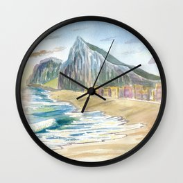 Gibraltar Beach with Rock and English Seascape Vibes Wall Clock