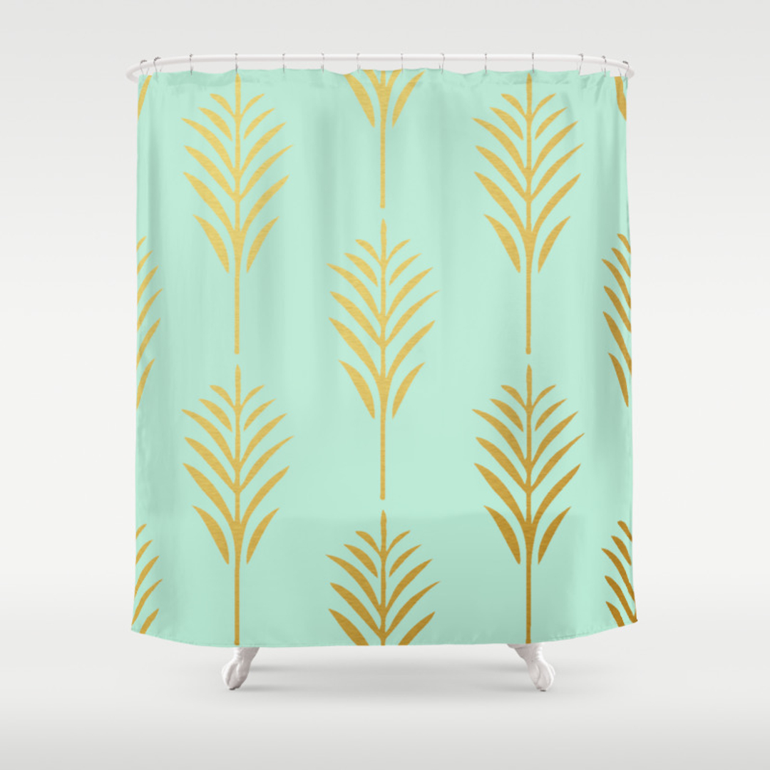 Graphicdesign Nature Pattern And Vector Shower Curtains Society - Mint green shower curtain