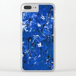 Abstract #350 Blue Chaos Clear iPhone Case