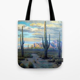 Superstition Mountains and Desert Landscape by John Marshall Gamble Tote Bag