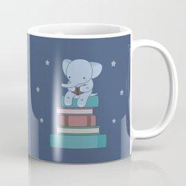 Kawaii Elephant Reading Books Coffee Mug