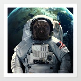 Pug dog astronaut and space dust in the universe Art Print