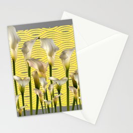 Grey & Yellow Pattern Calla Lilies Art Stationery Cards
