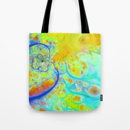 Emerging Galaxies – Abstract Teal & Lime Currents Tote Bag