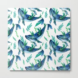 Humpback whale watercolor painting.Seamless Pattern Metal Print